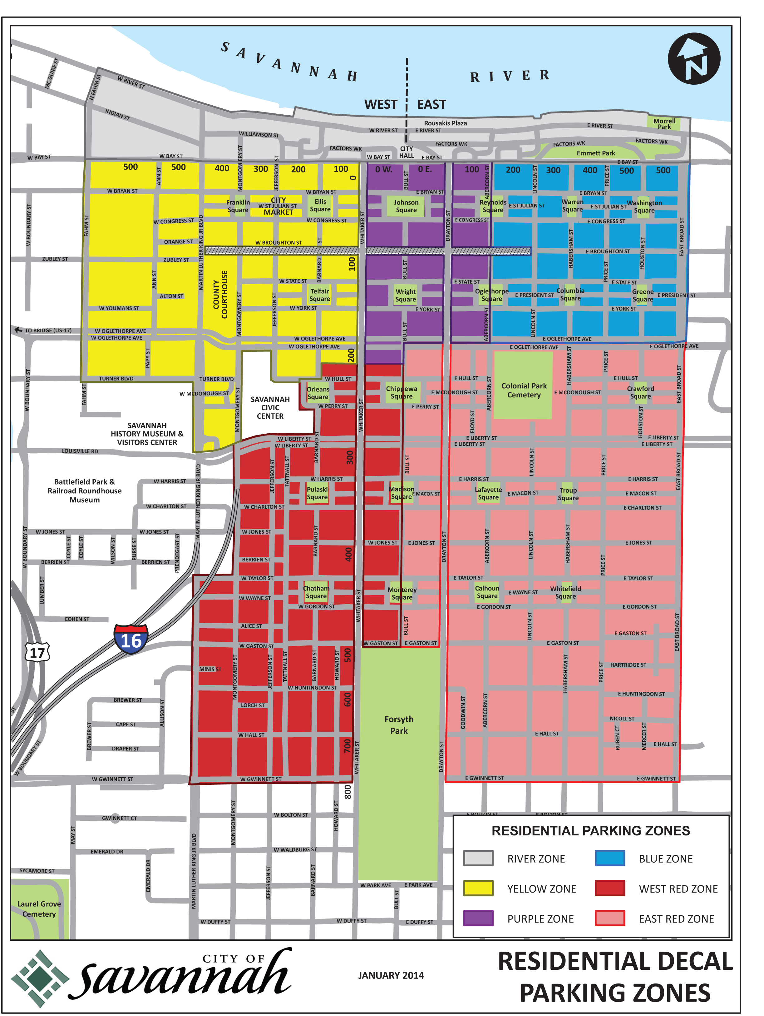 Savannah Downtown Neighborhood Association New Residential Parking Decal Zones Expanded